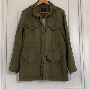 Madewell hooded military green parka jacket